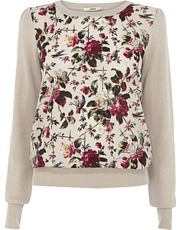 Rose Print Woven Front Top