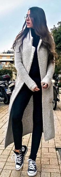 #winter #outfits grey open cardigan with black jumpsuit outfit