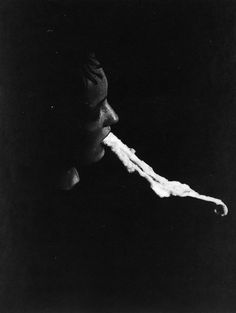 """Albert von Schrenck-Notzing, """"The medium Stanislawa P: emission and resorption of an ectoplasmic substance through the mouth"""", 25 January Gelatin silver print Diesel Punk, Ouija, Spirit Photography, School Photography, Artistic Photography, Pseudo Science, Haunted Places, Scary Places, Black And White"""