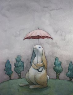 Scattered Showers - Cute little bunny with an umbrella on a rainy day-  8.5 x 11 art print of a watercolor painting. $10.00, via Etsy.