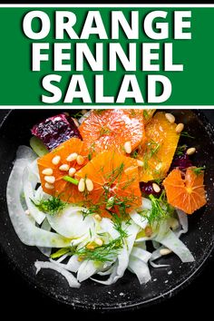 This Sicilian-style salad combines fresh oranges, paper thin fennel and onion, and toasted pine nuts, drizzled with lemon juice and olive oil. This is the perfect summer salad! #salad #summersalad #orangesalad #fennel #fennelsalad #italiansalad Healthy Appetizers, Healthy Salads, Healthy Recipes, Summer Dishes, Summer Salads, Types Of Salad, Fennel Salad, Orange Salad, Italian Salad