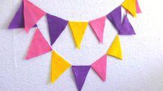Purple Pink Yellow Felt Pennant Banner Bunting by heartFeltbyA, $8.00