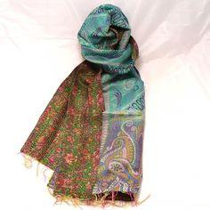 INDIAN KANTHA 100% SILK NEW VINTAGE SCARF Aqua Blue & Green Floral