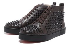 Mens Christian Louboutin Studded Sneakers Coffee