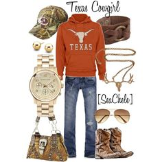 Texas Cowgirl, created by michele-cortes dont really like Texas University but love orange and the rest of the outfit!!
