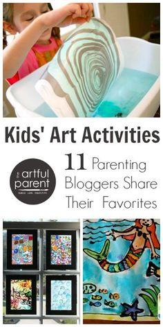 11 parenting bloggers share their favorite kids art activities here, including suminagashi, spin art, watercolor resist, and more.