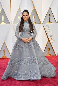 Oscars 2017: Ava DuVernay wearing a ___ gown. Elegant, classy, and demure princess dress in a lovely blue.