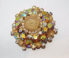 Vintage JULIANA // D&E ab rhinestone Birthday cake art glass BROOCH pin costume #unsigned