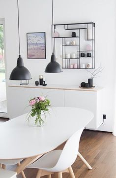 Dining area with Bruka design shelf- Essbereich mit Bruka Design Regal Scandinavian living Ikea Lyngby Bloomingville - Ikea Hack, Ikea, Ikea Living Room, Scandinavian Living, Room Design, Home Decor, Living Room Modern, Home Decor Trends, Decor Interior Design