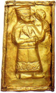 "Gold plaque decorated in repoussé.  C. 1050 — c. 950 BC. Nicosia, Cyprus Museum.  Origin: Skales cemetery, Paliapaphos (Kouklia), Cyprus.  Credits: © 2004 Photo, text: Maier F.G. ""Guide to Paliapaphos (Kouklia)"". Bank of Cyprus Cultural Foundation. Nikosia"