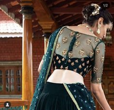 Blouses 183 Likes, zero Feedback - Designer saree & shirt concepts (Sue Anne Rees.blouses) on Instag Blouse Back Neck Designs, Netted Blouse Designs, Fancy Blouse Designs, Bridal Blouse Designs, Designs For Dresses, Blouse Designs Catalogue, Choli Blouse Design, Saree Blouse Designs, Net Saree Designs