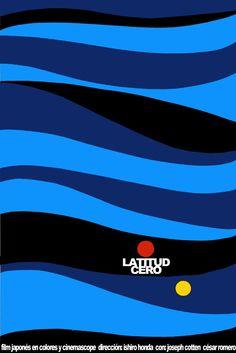 "Cuban movie Poster for Japanese film""LATITUD Cero""Japan.Ishiro Honda.Blue art. #Vintage"