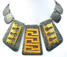 The Jewelry Lady's Store: Egyptian Revival Panel Pewter & Brass Necklace Vintage - Feel like Cleopatra? Well, if you wear this necklace, you will.  This is an impressive vintage Egyptian revival panel necklace, 2 tone, in pewter and brass, just a great statement piece.
