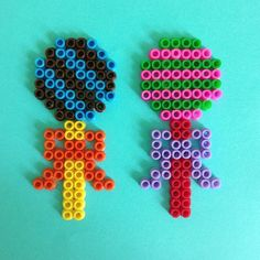 Lollipops with ribbon pyssla beads by  pysslaparadise