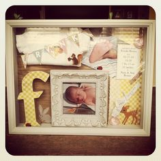 yellow gingham and woodland shadow baby box