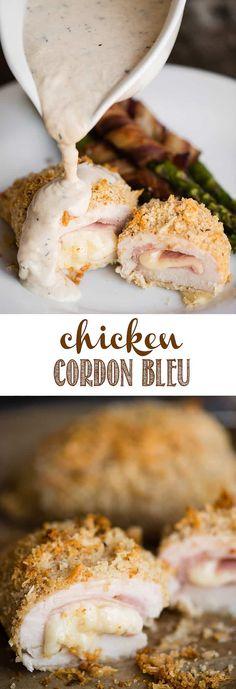 Chicken Cordon Bleu with Dijon Cream Sauce.
