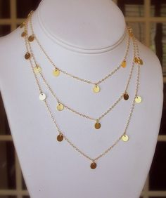 Love this gold necklace! Disc Necklace, Gold Necklace, Necklaces, Layered Necklace, Bracelets, Gold Jewelry, Jewelry Box, Jewellery, Jewelry Ideas