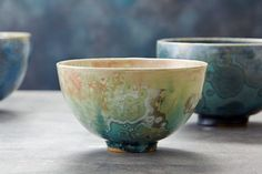 Crystalline Bowls skye zerafa ceramics zen Ceramic Bowls, Ceramic Pottery, Earthenware, Stoneware, Head Planters, Contemporary Ceramics, Tea Bowls, Diy Clay, Turquoise