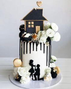 Happy housewarming engagement - The wedding cake Drizzle Cake, Modern Cakes, Cupcake Art, Engagement Cakes, Amazing Wedding Cakes, Crazy Cakes, Buttercream Flowers, Fashion Cakes, Novelty Cakes