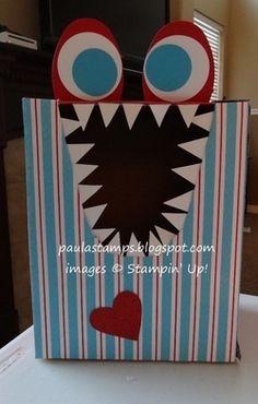 homemade valentine boxes | Valentine box - monster | Monstres