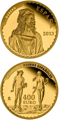 N♡T.400 euro: Treasures of Spanish Museums: Durer.Country: Spain Mintage year:2014 Face value:400 euro Diameter:38.00 mm Weight:27.00 g Alloy:Gold Quality:Proof Mintage:3,000 pc proof