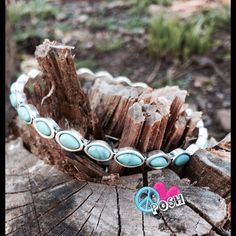 ☮ Fashion Bangle Bracelet ☮ ☮ Fashion Bangle Bracelet ☮ Gorgeous Studded Turquoise Color Beads Surrounded by SilverTone Metal   Measures 2.3/4'  NO TRADE Jewelry Bracelets
