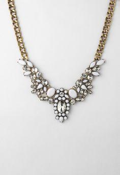 Crystal and White Gem Bib Choker Necklace