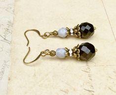 Black Earrings, Gray Earrings,Black and Gold Earrings, Victorian Earrings,Czech Glass Beads, Unique Earrings, Rustic Earrings, Gifts for Her