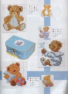 Children -Bears in blue Easy Cross Stitch Patterns, Cross Stitch For Kids, Mini Cross Stitch, Cross Stitch Cards, Simple Cross Stitch, Cross Stitch Animals, Cross Stitch Designs, Cross Stitching, Baby Embroidery