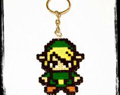 8 Bit Link from The Legend of Zelda Sprite Hama Perler Bead Keychain / Keyring or Necklace