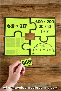 Number Puzzles for Math StationsNumber Puzzles for second grade math stations are math center activities teaching your students addition, subtraction, fractions, place value, multipl. Teaching Second Grade, Second Grade Math, 4th Grade Math, Teaching Math, Teaching Time, Math Strategies, Math Resources, Math Activities, Addition Activities