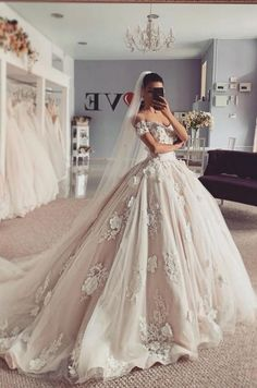 Ball Gown Off the Shoulder Tulle Wedding Dresses with Handmade Appliques,Charming Bridal Gown Wedding Dress Mermaid Lace, Wedding Dress Black, Princess Wedding Dresses, Elegant Wedding Dress, Best Wedding Dresses, Mermaid Dresses, Bridal Dresses, Wedding Gowns, Twilight Wedding Dresses