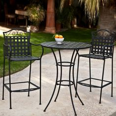 Enjoy exclusive for 3 Piece Outdoor Bistro Set Bar Height -Black. This Traditional Patio Furniture Stylish Comfortable. Bistro Sets Compliment Your Patio, Deck Or Pool Area Perfectly. Patio Furniture Sets Of This Quality Last For Years. Porch Table, Table Bar, Patio Dining, Deck Table, Iron Patio Furniture, Outdoor Garden Furniture, Outdoor Decor, Furniture Design, Furniture Ideas