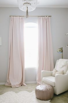 Petal Pink Drapes in a Baby Girl Nursery - loving this simple, yet glam look!
