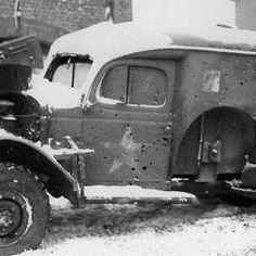 Dodge 3/4-Ton Ambulance riddled with bullets. Picture taken during the Battle of the Bulge, Dec 44 - Jan 45 #bastogne #ww2weapons #ww2history #1944 #battleofthebulge #ww2 #warpics #warhistory #worldwar2 #worldwar #worldwarii #worldwartwo #1944 #usarmy #wwii #wwiimemorial #bandofbrothers #currahee #tanks #ww2tanks #history #war #veterans #relics #metaldetecting
