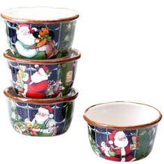 Christmas Santa Workshop Ice Cream Bowls Holiday Home Kitchenware Set 4 #CertifiedInternational