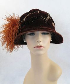 1920 Vintage Hats | SALE Vintage 1920s 1930s Hat Brown Velve Cloche with Ostrich Feathers ...
