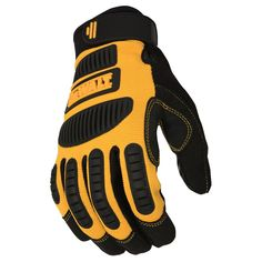 The DEWALT Performance Mechanic Work Glove provides superior grip where you need it most. The impact guards help protect from incidental bumps or scrapes while maintaining flexibility and comfort. Features SecureFit wrist closure and tacky silicone Dewalt Power Tools, Mechanic Gloves, Safety Gloves, Work Gloves, Mens Gloves, Tools And Equipment, Mitten Gloves, Black N Yellow, Color Yellow