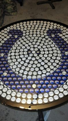 Colts bottle cap table  Not a Colts fan...but this is super creative