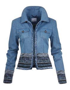 Jeansjacke mit Fancy-Tweed und Fransenkanten | MADELEINE Mode
