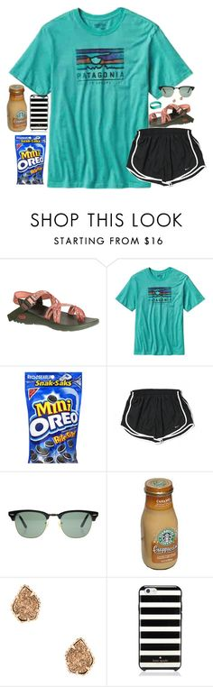 """I'm sick"" by southernstruttin ❤ liked on Polyvore featuring Chaco, Patagonia, NIKE, Ray-Ban, Kendra Scott, Fitbit and Kate Spade"