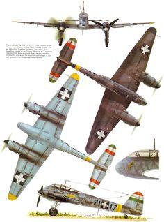 Messerschmitt Me 'Fast bomber aircraft RHAF , Hungary 1944 Ww2 Aircraft, Fighter Aircraft, Military Aircraft, Fighter Jets, Luftwaffe, Amerika Bomber, Aircraft Painting, Ww2 Planes, Aircraft Design