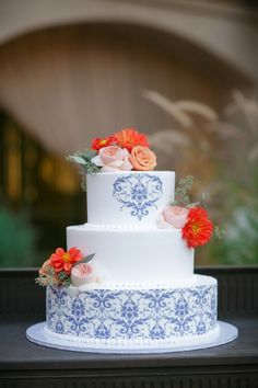 """Blue is one lucky color. And for that reason, we're channeling the positive energy with these gorgeous """"something blue"""" wedding cakes! See some of the fanciest, cool blue cakes below for some sweet inspiration. Happy pinning!"""