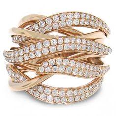 1.30ct 14k Rose Gold Diamond Bridge Ring-Allurez.com