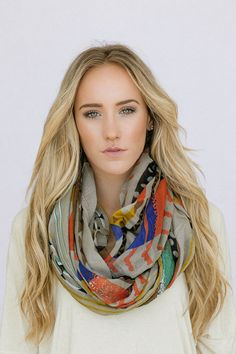 Boho Infinity Scarf Wide Long Southwestern Bohemian Tribal Loop Circle Scarf for Spring Women's Fashion Accessory Taupe on Etsy, $38.00