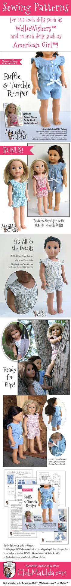 "Sew up a playful one-piece ""Ruffle & Tumble Romper"" with this sewing pattern, including pieces for both 18-inch dolls such as American Girl™ and 14.5-inch dolls such as WellieWishers™. Available exclusively from ClubMatilda.com"