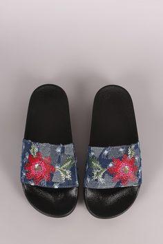 4c2c2ef9fc898 Distressed Denim Embroidered Floral Slide Sandal
