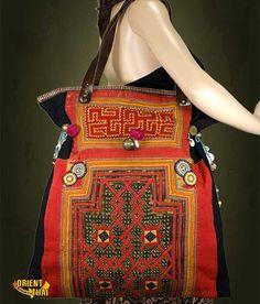Vintage de main sac ethnique hmong Thaïlande.Broderie sac à Boho, tribu fourre-tout sac à main ethnique principale besace fait principal brodé hippie Bohème Asie