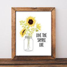 Farmhouse Decor  Farmhouse Print  Sunflower Print  Live the