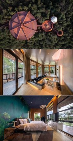 ZYJ Treehouse in Qiyun Mountain, Anhui Province in China. The architecture of the treehouse is UFO-inspired. This campsite-like resort villa comprises 15 sets of independent villa-style rooms scattered among the pine-forest hills. Resort Villa, Pine Forest, Ufo, Mountain, China, Treehouses, Mansions, Campsite, Architecture